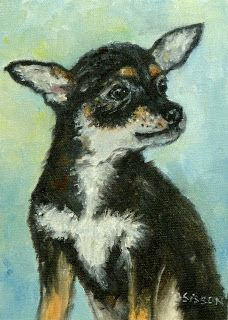 """""""Chihuahua Pup"""" Oil on canvas, 7"""" x 5"""". I love the sweet face of a pup like this one."""