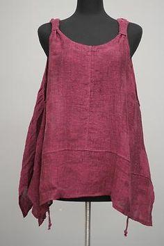 Transparente Designs Lagenlook Italian Linen Weave Tank Vestover Pink $425 | eBay