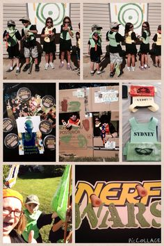 Nerf Wars party for my 9 year-old son. What a blast! Made shirts. Found cool safety glasses on Ebay. Made protective vests out of foam and used Velcro to secure, put their names on the back. Made big target for practice. Painted soda cans black and added stripe of green and yellow duck tape, filled with rice and stacked for more target practice. Got some big boxes from Home Depot and painted cammo colors to use for defense. Played Capture the Flag. Kids said it was the best party!