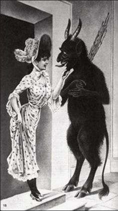 Krampus, the anti Santa. Anti Santa, Creepy, Scary, Satanic Art, Arte Horror, Gravure, Occult, Dark Art, Devil