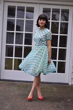60's Turquoise Polka Dot Dress