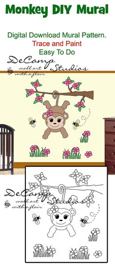"DIY Monkey Wall Art Mural for baby girl nursery or kids room decor. Do It Yourself Trace and Paint by Number. This mural measures 38"" (96.52cm) Tall and 33"" (83.82cm) Wide. Available in different sizes. Also great for church nursery, childcare, pediatric office, and preschool #decampstudios"