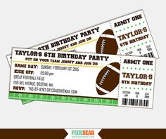 Football Ticket Party Invitations  Football