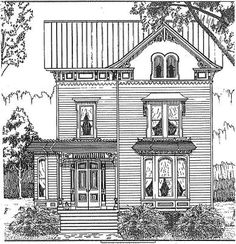 "Drawing of a Victorian house, or as they were/are called, ""painted ladies""."