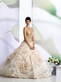Organza Sexy V-neck with Ball Gown Skirt Top Seller Wholesale Wedding Dresses Wedding Dresses With Flowers, Sexy Wedding Dresses, Bridal Dresses, Wedding Gowns, Wedding Venues, Wedding Hair, Lace Wedding, Ball Dresses, Ball Gowns