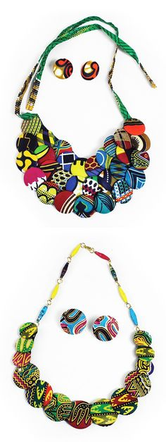 African fabric wrapped necklaces - These beautiful African necklaces are made of a series of brightly colored discs in rows that are decorated in African designs. Each necklace comes with matching disc earrings.  Celebrate the history and culture of Africa with these beautiful African necklaces.  #africa #african #fabric #pattern #necklace #jewelry #decorate #style #stylish #womensfashion #fashion