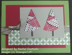 Card made with a folded paper Christmas Tree - not really origami