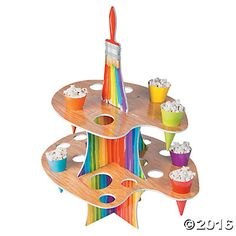 Artist Party Treat Stand (holds 24 treat cones which are included) Paint Party Supplies Tween Party Games, Princess Party Games, Halloween Party Games, Princess Birthday, Sleepover Party, Princess Sofia, Artist Birthday Party, Birthday Party Themes, Kids Bday Party Ideas