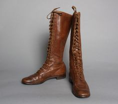 vintage 30s RARE Knee High Lace Up BOOTS / Brown Leather