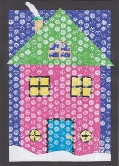 Paint bubble wrap white and press it to the picture to create a snowy, winter sc.- Paint bubble wrap white and press it to the picture to create a snowy, winter scene. Toddler Art, Toddler Crafts, Preschool Crafts, Winter Painting, Painting For Kids, Art For Kids, Winter Thema, Winter Crafts For Toddlers, Kindergarten Art Lessons