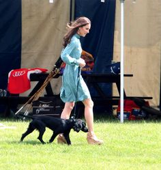 The Duchess of Cambridge attends the Audi Polo Challenge charity polo match with her dog, Lupo