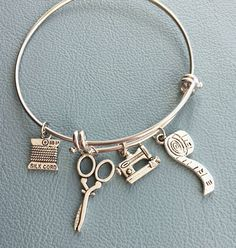 Silver Bracelet Inspired by Alex & Ani Sewing - Crafting  Theme - Thread, Sewing Machine, Tape Measure, Scissors, Fast Shipping by Arrimage on Etsy