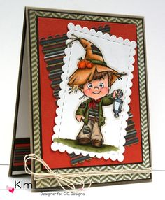 C.C. Designs Roberto's Rascals Scarecrow Henry and Cutter Make-a-Card #9 Autumn by Kim O'Connell