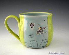 Pottery Mug with Echinacea Flower - Large Coffee Mug - Soup Mug - Handmade Mug in Blue and Chartreuse - Latte Mug - by DirtKicker Pottery