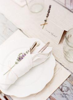 vintage inspired table setting with lavender
