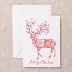Coral Christmas deer Greeting Cards by Illustree