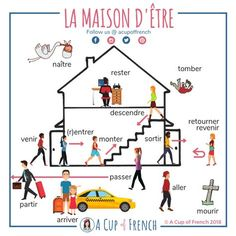 Learn French with A Cup of French! Easy and fun lessons with infographics and videos. You can enjoy your cup of French wherever you want and at your own pace. What French verbs are using ÊTRE as an auxiliary in passé composé? French Verbs, French Grammar, French Phrases, French Tenses, French Quotes, English Grammar, French Expressions, French Language Lessons, French Language Learning