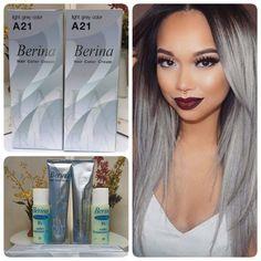 2 Boxes Berina A21 Light Grey Silver Color Permanent Hair Dye Color Cream
