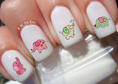 Cute Baby Elephant Nail Decals by AMstickers on Etsy