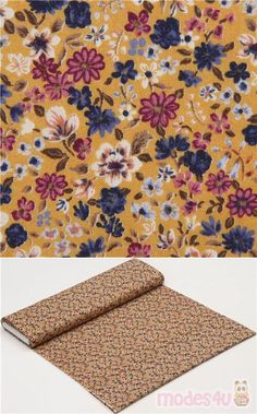 """ocre cotton lawn fabric with small flowers in dark blue, off-white etc., Material: 100% cotton, Fabric Type: lightweight cotton lawn fabric, Pattern Repeat: ca. 10cm (3.9"""") #Lawn #Flower #Leaf #Plants #USAFabrics"""