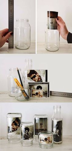 Fotorahmen mit recyceltem Glas und Fotos, … - Best Diy Home Crafts Home Crafts, Fun Crafts, Diy And Crafts, Cadre Photo Original, Glass Jars, Mason Jars, Recycled Glass, Recycled Crafts, Diy Room Decor