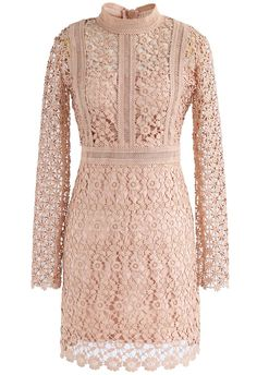 Ladylike Floral Crochet Panelled Shift Dress in Tan - New Arrivals - Retro, Indie and Unique Fashion
