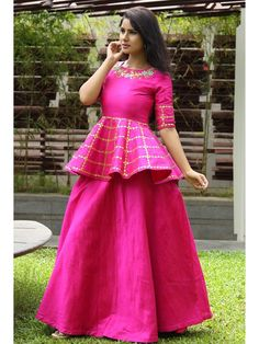 Price: INR Rani Pink Lehenga Lehenga by Zardozi by Palak * The Wedding Brigade Description: Rani pink peplum blouse with gota dori and potli work and it comes with… Designer Party Wear Dresses, Kurti Designs Party Wear, Indian Designer Outfits, Indian Outfits, Indian Clothes, Designer Wear, Kids Blouse Designs, Choli Designs, Lehenga Designs