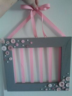Picture Frame Bow Holder by CassadeesCreations on Etsy, $20.00