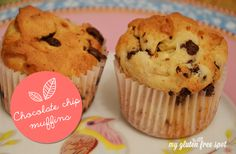 #glutenfree chocolate chip muffins. A super easy recipe that makes light and fluffy muffins! Gluten-free baking on a budget. #glutenfreebaking #muffins