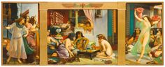 Jean-Jules-Antoine Lecomte du Noüy, Ramses in his Harem, 1886, oil on canvas, central panel 115 x 146.5cm; side panels 128 x 77cm. From sothebys.com.