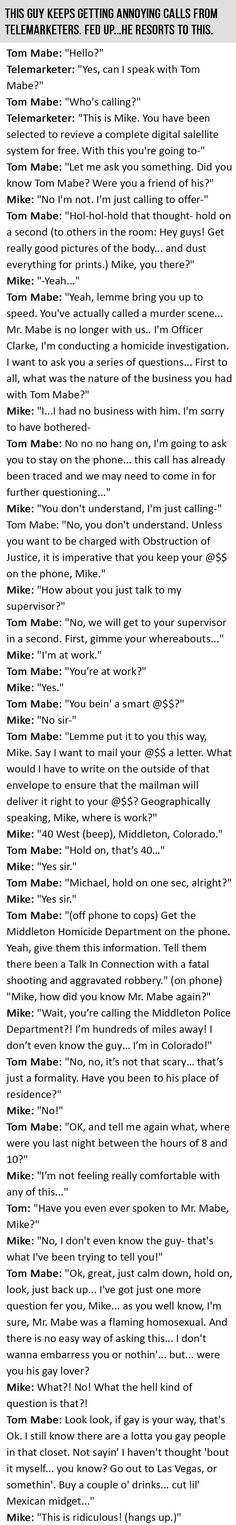The Best Conversation With A Telemarketer Ever. This Is GOLD.