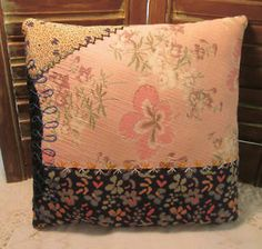 Lovely PILLOW w/Elegant Hand EMBROIDERY - Made from Antique Crazy QUILT