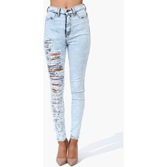 Slashed High Waist Skinnies ($43) ❤ liked on Polyvore featuring pants, jeans, bottoms and full outfits