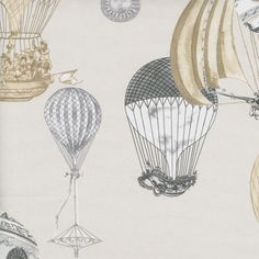Balloon Rally in Sandstone Fabric by the Yard from PoshTots for boys nursery bedding