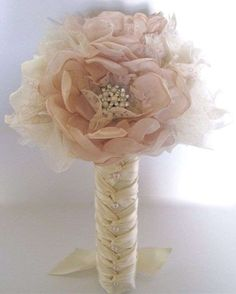 Bridesmaid Brides Fabric Flower Wedding Bouquet In Champagne and Ivory with Faux Pearl Accents and Lace. Custom Made to Your Colors by theraggedyrose on Etsy Bouquet Wrap, Diy Bouquet, Bride Bouquets, Flower Bouquet Wedding, Hand Bouquet, Seashell Bouquet, Flower Bouquets, Trendy Wedding, Perfect Wedding