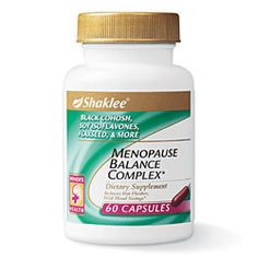 MENOPAUSE BALANCE COMPLEX*    Size: 60 Softgels    HELPS REGULATE HORMONAL BALANCE*    Menopause Balance Complex contains black cohosh, proven to help regulate hormonal balance during menopause and reduce hot flashes, mild mood swings, and occasional sleeplessness.*  In addition, Menopause Balance Complex provides both soy isoflavones and flaxseed lignans, phytoestrogens currently being studied for heart, bone, and breast health.    Health.MyShaklee.com