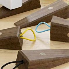 Design Ideas Doublestop Doorstop Walnut Made Of Solid Wood Great Alternative To Nasty Rubber Stoppers Includes Colorful Loop Keep It Attached