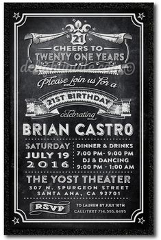 Cheers for 21 Years 21st Birthday Invitations, printed 21st birthday invitations for guys. Cheers for 21 years!