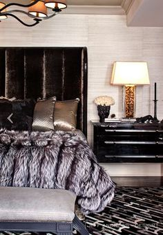 Kardashian bedroom: fur, Metallics, patterns, textures, amazing.