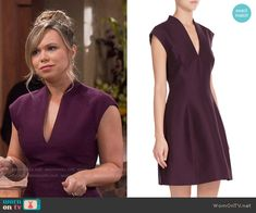 Kristin's purple v-neck dress on Last Man Standing. Outfit Details: http://wornontv.net/54360/ #LastManStanding