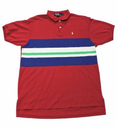 Vintage 90s Pink Polo by Ralph Lauren Striped Polo Shirt Made in USA Mens Size Large $50.00