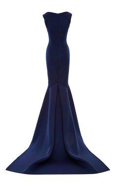 Solid Neoprene Flared Gown by Zac Posen for Preorder on Moda Operandi