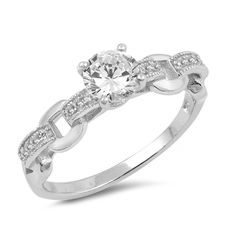Solitaire Accent Wedding Engagement Ring Chain Link Round Simulated CZ 925 Sterling Silver Choose Color