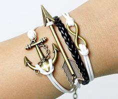 Anchor mens bracelets infinit bracelets   arrow by lifesunshine, $7.99