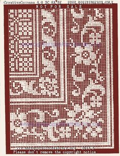 Crochet Lace Edging, Crochet Borders, Cross Stitch Borders, Crochet Cross, Thread Crochet, Cross Stitch Patterns, Hand Embroidery Stitches, Knitting Stitches, Cross Stitch Embroidery