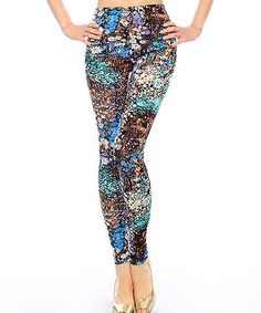 Look what I found on #zulily! Blue & Brown Floral Leggings by Chalmon's #zulilyfinds