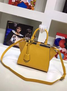Fendi Mini 3Jours in Yellow Leather Handbag.  View more at http://www.luxtime.su/