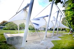 Birdair Structure with PTFE and Photovoltaic Panels Provides Shade and Power for SICM. Staten Island Children's Museum Features Tensile Structure - Fabric Structure, Shade Structure, Membrane Structure, Tensile Structures, Outdoor Shade, Parametric Design, Staten Island, Architect Design, Sustainable Design