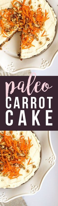 This Paleo Carrot Cake is grain-free, dairy-free, fruit-sweetened... healthy and tasty. :) http://GrokGrub.com