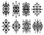 Vintage mexican aztec tribal traditional vector logo design, navajo prints set. Decoration traditional aztec design, ilustration of geometric aztec tribal tattoo.